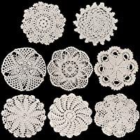 8 Pieces 6 to 8 Inch Cotton Lace Doilies Crochet Handmade Lace Coasters Round Lace Placemat Rustic Table Doilies Decors…
