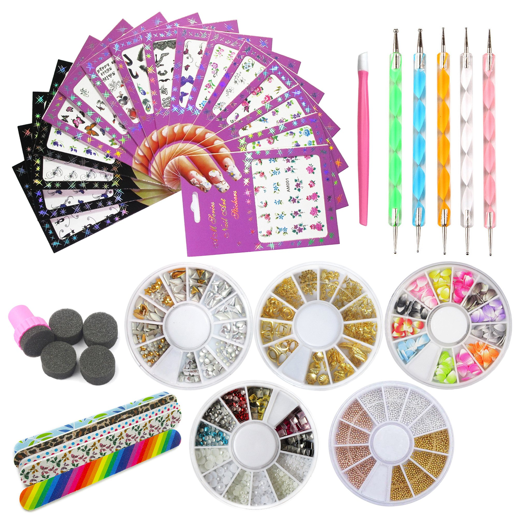 Nail Art Tools Decoration Manicure Pedicure Tool Set Kit 16PCS Nail Stickers,5 Boxes  Nail Beads Rhinestones Stone Gold Metal Studs,5 Nail File Sticks,5 Nail Dotting Pen,Nail Stamping Sponge Pusher