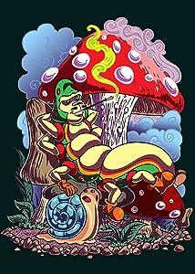 """""""Smoking Caterpillar"""" w/ Pet Snail & Mushrooms - Rectangle Refrigerator Magnet"""