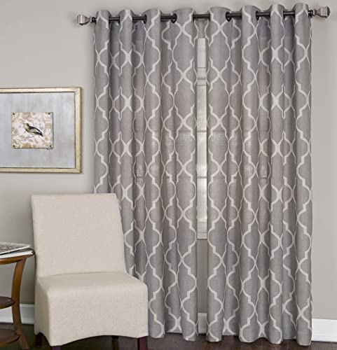 Elrene Home Fashions Medalia Room Darkening Geometric Window Curtain Panel, 52 W x 120 L 1, Stone