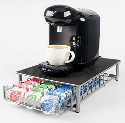 Coffee Machine Stand With Pod Storage Drawer 60 Capsule For Tassimo Kitchen New