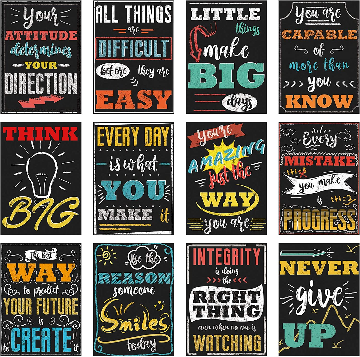 Ivenf Motivational Classroom Wall Posters, 12 Pcs Extra Large 16 x 11 Inch Inspirational Quote Wall Art Decorations for Teacher and Students