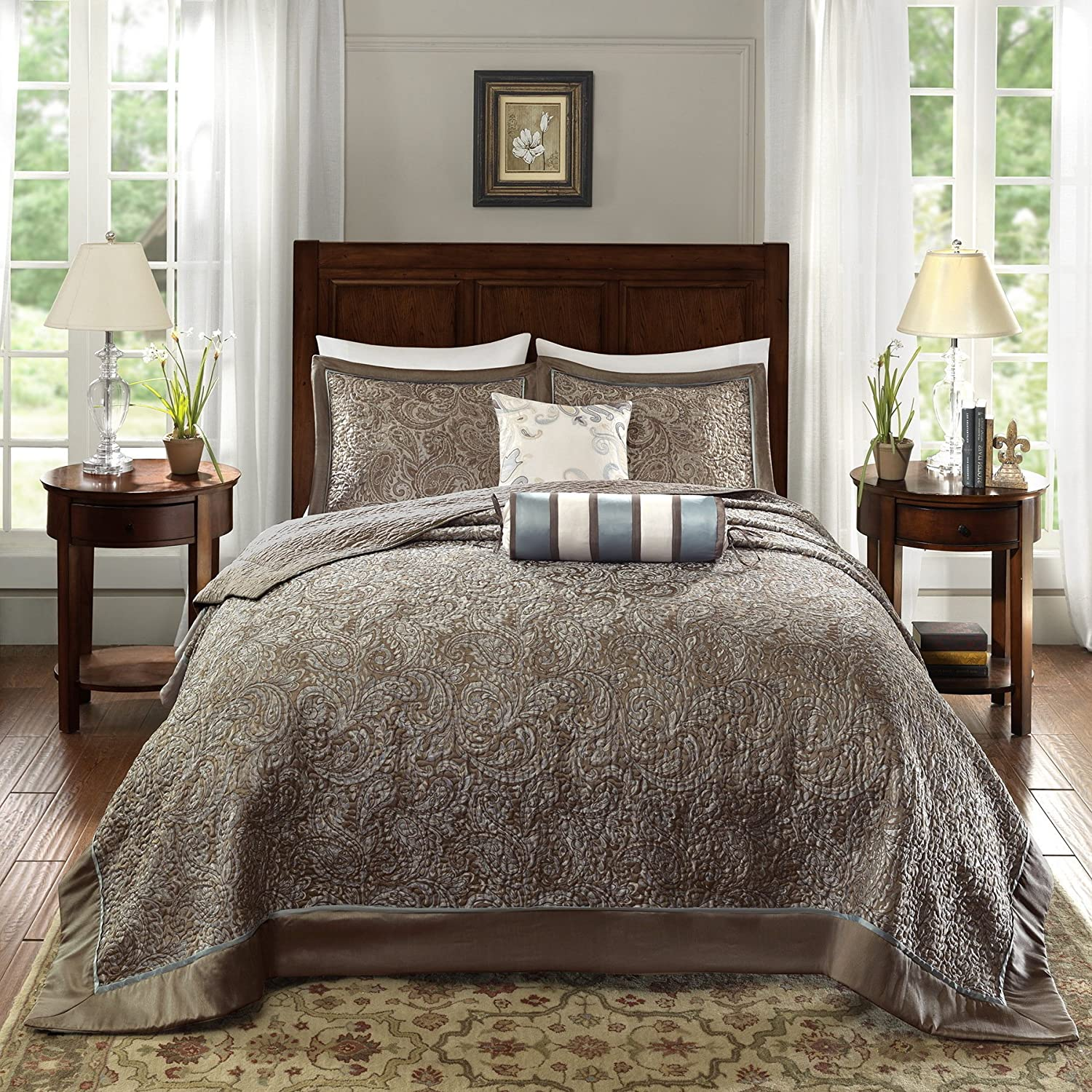 D&H 5 Piece 120 x 118 Oversized Blue Brown King Bedspread to The Floor Set, Extra Long Jacquard Paisley Bedding Xtra Wide Drops Over Edge Frame, Drapes Down Sides Hangs Over Bed, Polyester DH