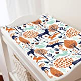 Carousel Designs Navy and Orange Woodland Animals Changing Pad Cover - Organic 100% Cotton Change Pad Cover - Made in the USA