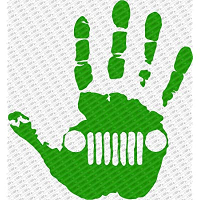 "Collectible Decals Jeep Wave Hand Vinyl Decal Sticker fits Jeep Wrangler Rubicon JK TJ YJ CJ (6"", Green): Automotive"