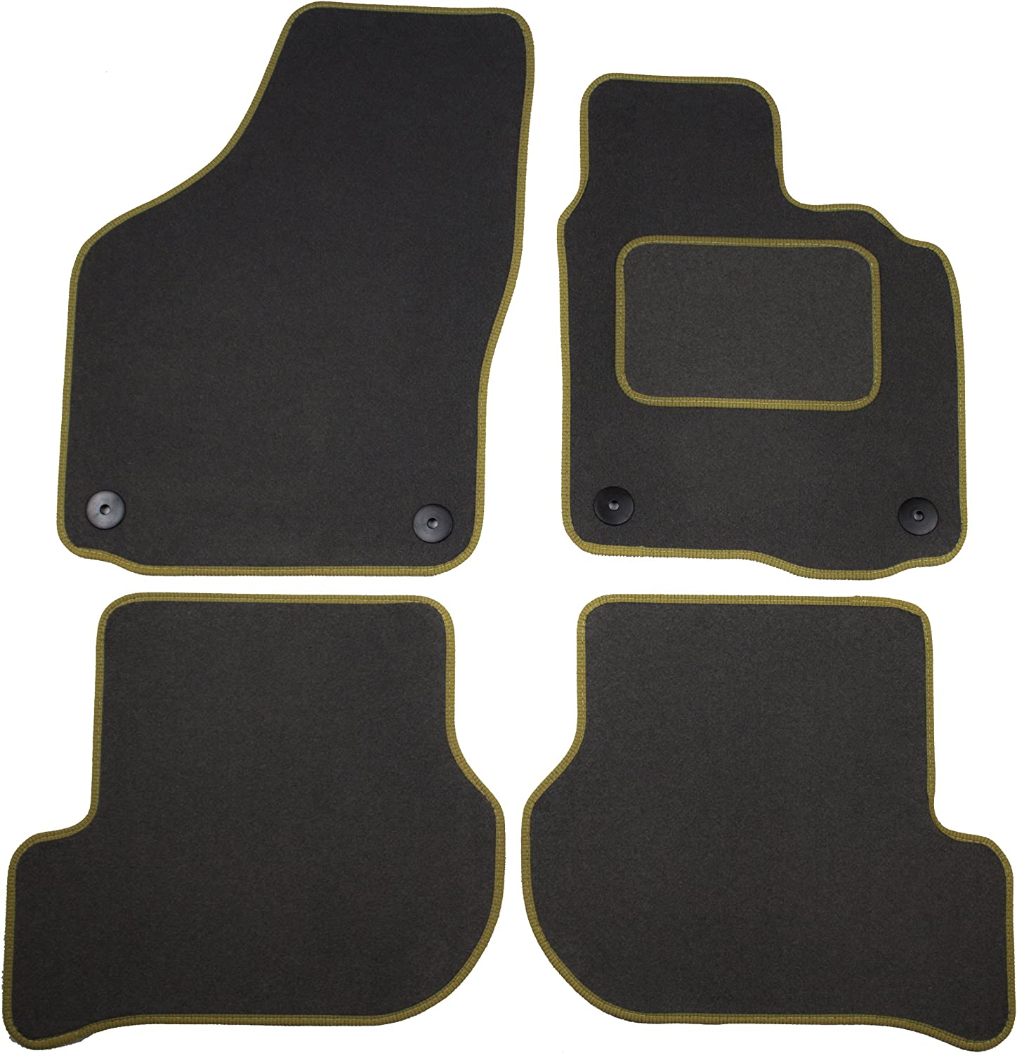 Cosmos V3607STGR25HP Standard Grey Tailored Floor Mats with Beige Cloth Binding with Heelpad