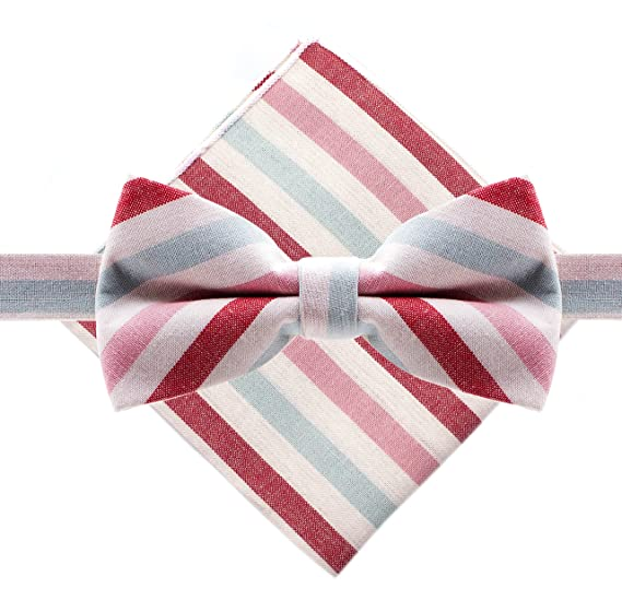 920aeedff393 Amazon.com: Bowtie & Pocket Square - Pastel Stripes - Pink & Blue ...