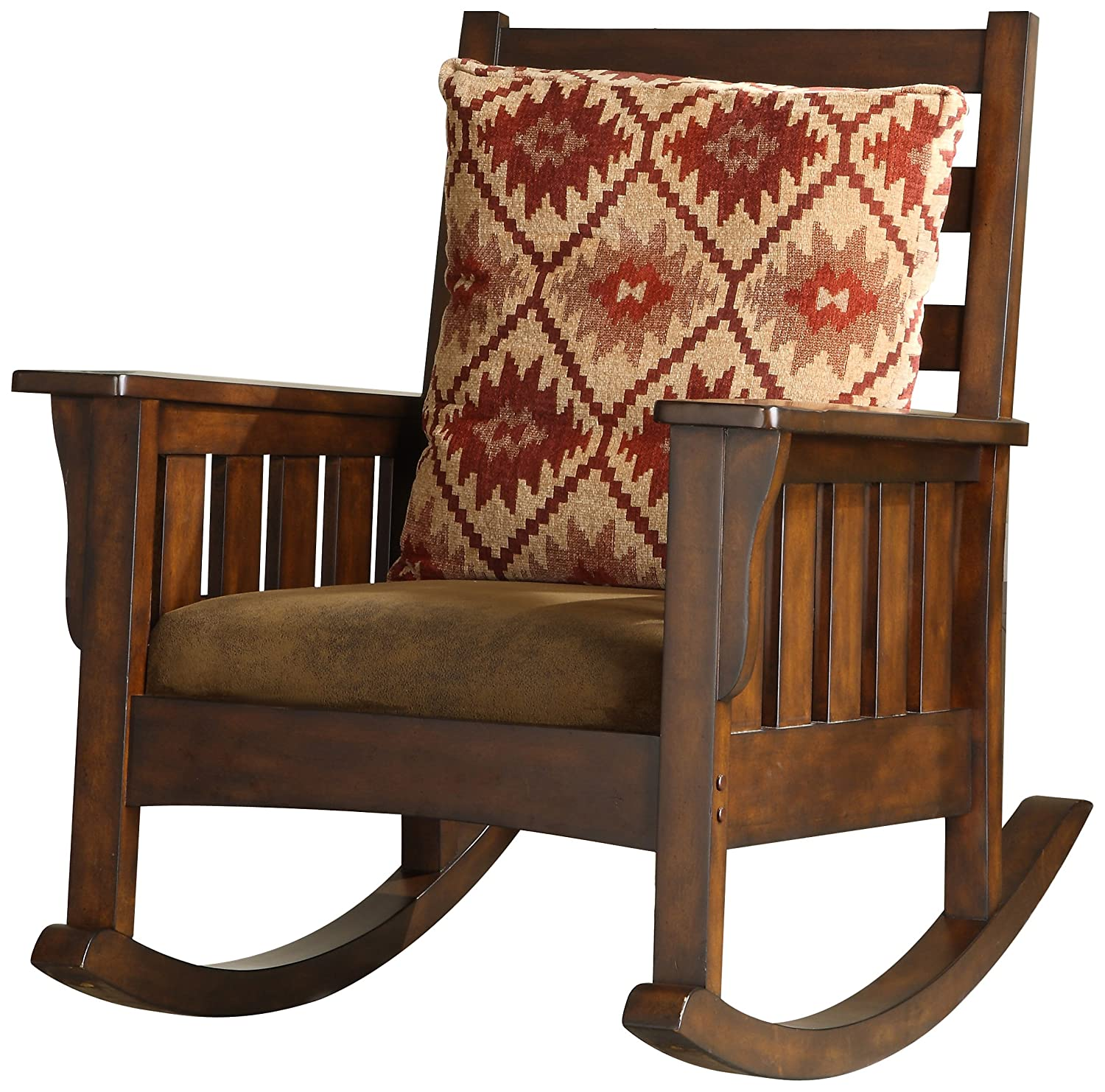 Amazon.com: Furniture of America Oria Rocking Chair, Dark Oak: Kitchen &  Dining - Amazon.com: Furniture Of America Oria Rocking Chair, Dark Oak