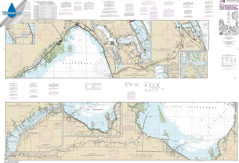 Lucie Inlet to Fort Myers; Lake Okeechobee 41 X 60 Paradise Cay Publications NOAA Chart 11428: Okeechobee Waterway St WATERPROOF