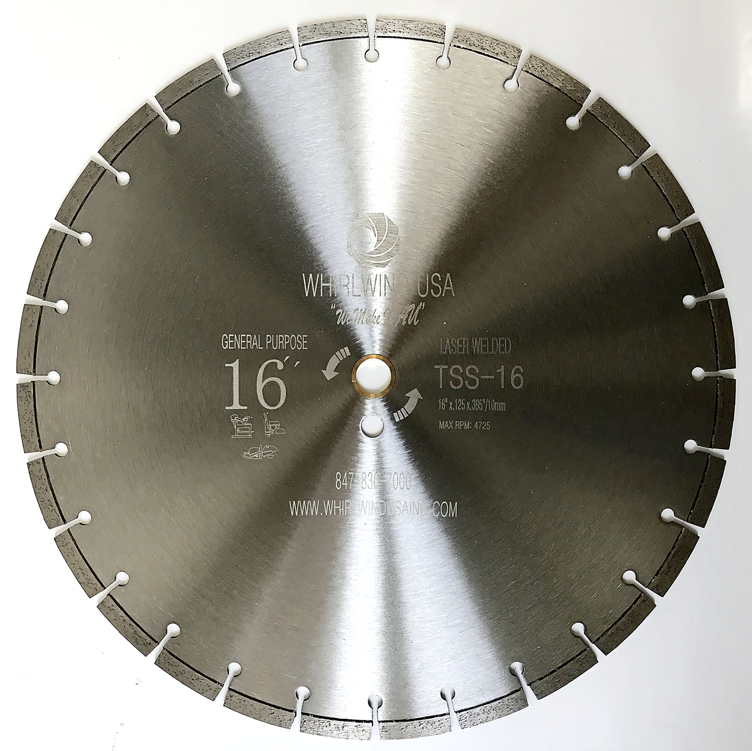 Whirlwind USA TSS 16 inch Laser Welded Dry or Wet General Purpose Standard Power Saw Segmented Diamond Blades (Factory Direct Sale) (16'')