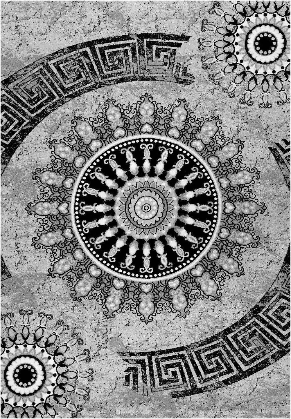 Dich Tiss/é Marron//Beige//Noir Mouchet/é Ornement Motif,Haute Qualit/é 40 x 40cm Gris VIMODA tibet6447 Tapis Classique Motifs Cercle