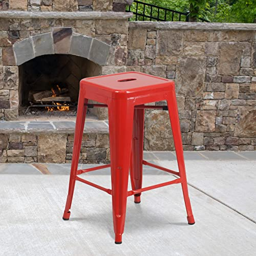 Cheap EMMA OLIVER Commercial Grade 24″ H Backless Red Metal Indoor-Outdoor Counter Height Stool outdoor bar stool for sale