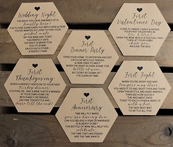 bridal shower wine labels modern 3 inch hexagon basket of firsts milestone poems