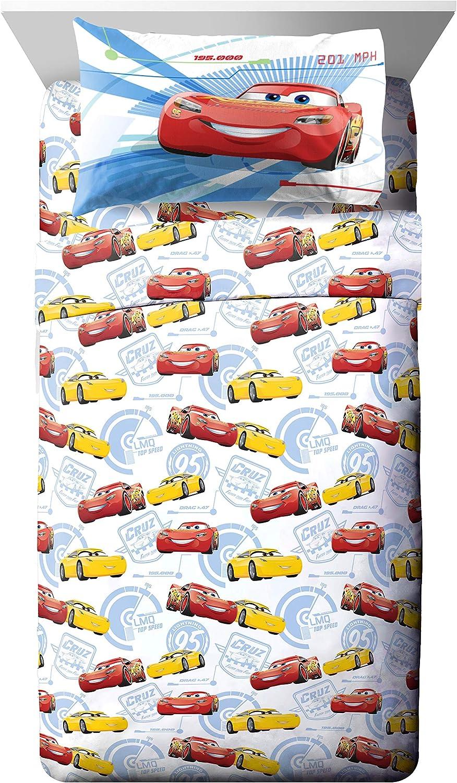 Jay Franco Disney Pixar Cars High Tech Full Sheet Set - 4 Piece Set Super Soft and Cozy Kid's Bedding Features Lightning McQueen - Fade Resistant Microfiber Sheets (Official Disney Pixar Product)