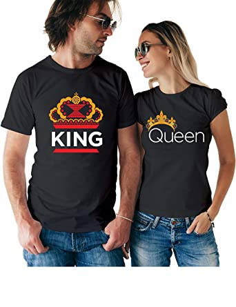 0d54f028 Cool King Queen Couple T Shirts - Matching His and Hers Custom Shirts -  Couples Outfits