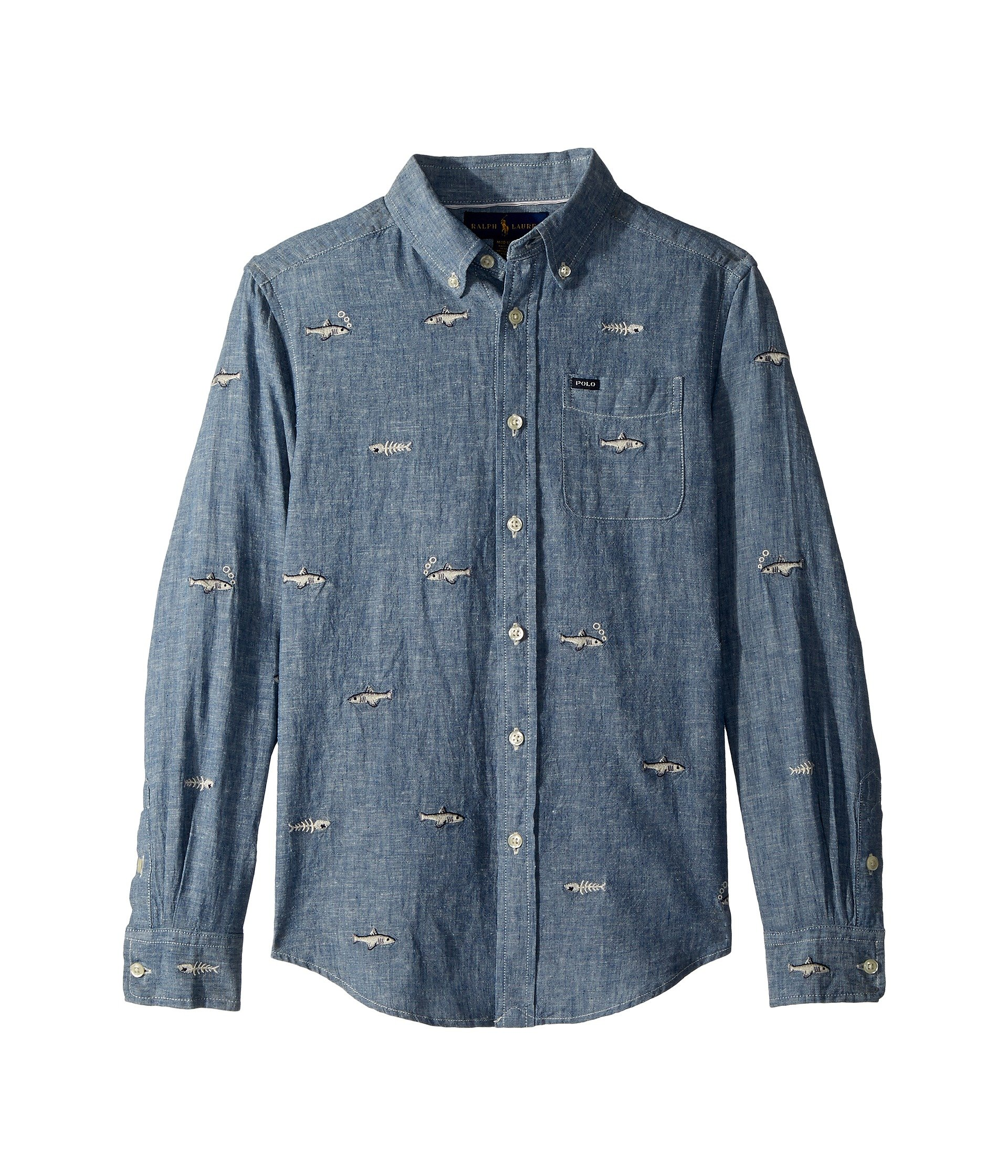 RALPH LAUREN Polo Boys' Linen Cotton Embroidered Long Sleeve Chambray Shirt, Blue (X-Large)