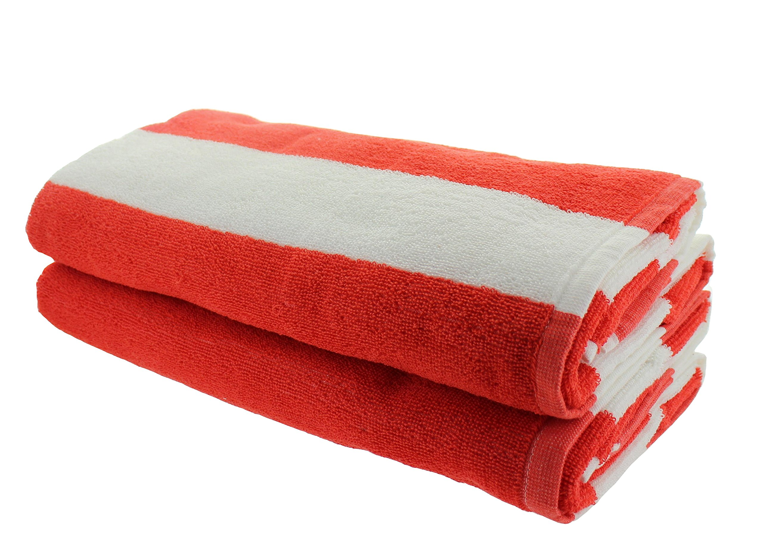 Everyday Resort Quality Cabana Beach Towels - Pack of 2 Cabana Orange Stripe Pool Towels 100% Cotton - Large 60'' by 30'' - Soft and Absorbent, Great for the Pool and the Beach!