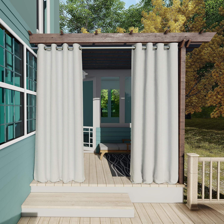132x305cm Blanco Gris Cortinas para Exteriores con Ojales,Resistentes al Viento, Resistentes al Agua, Resistentes a la harina, para jardín, balcón, casa de Playa, vestíbulo, Cabana