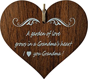 Wooden & Antique A Garden of Love Grows in a Grandma's Heart. I Love You Grandmother Quotes. Wooden Hanging Heart Leaving Plaque-Sign Gift
