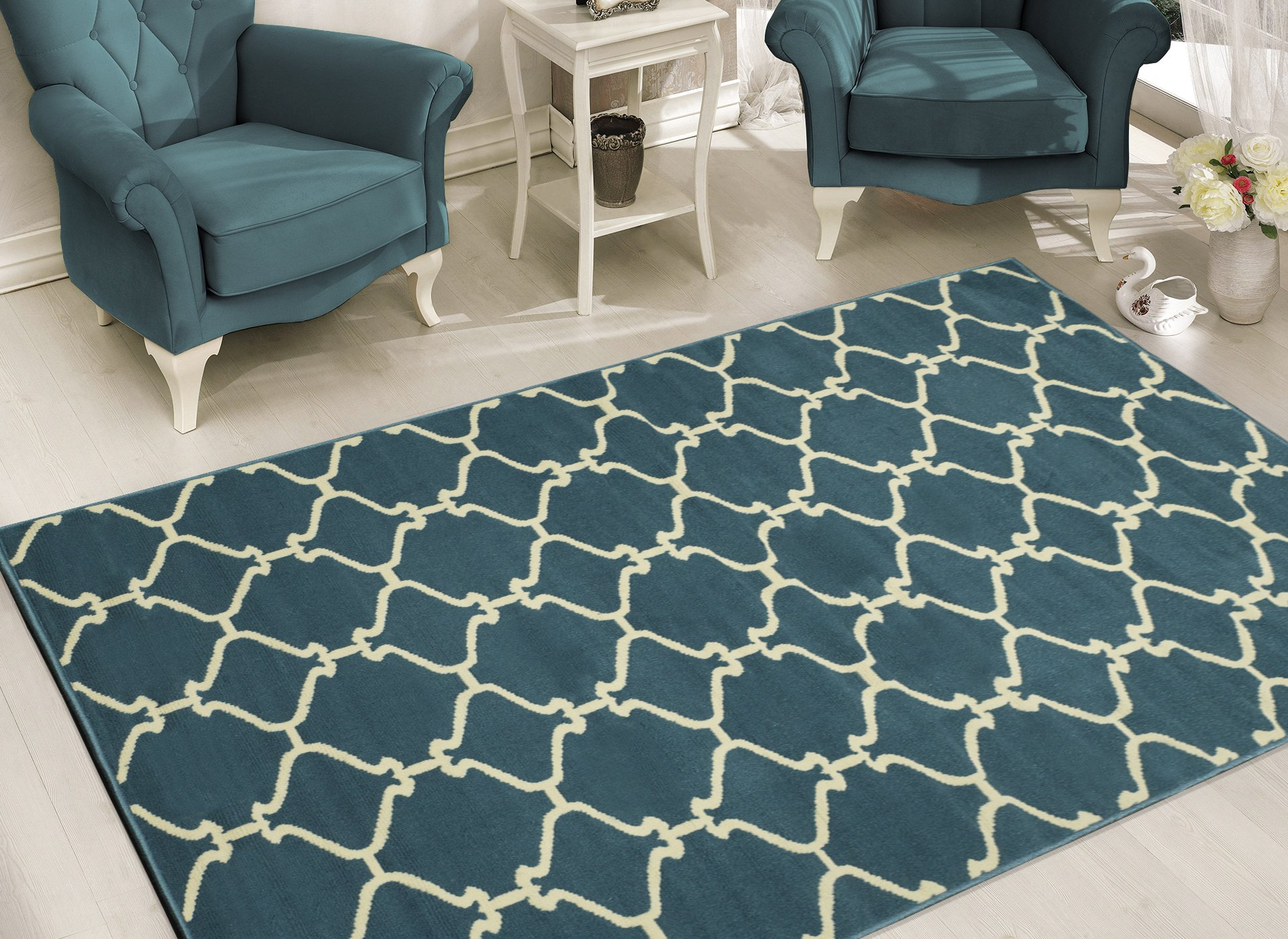 Sweet Home Stores Clifton Collection Blue Moroccan Trellis Design (7'10 X 9'10) Area Rug