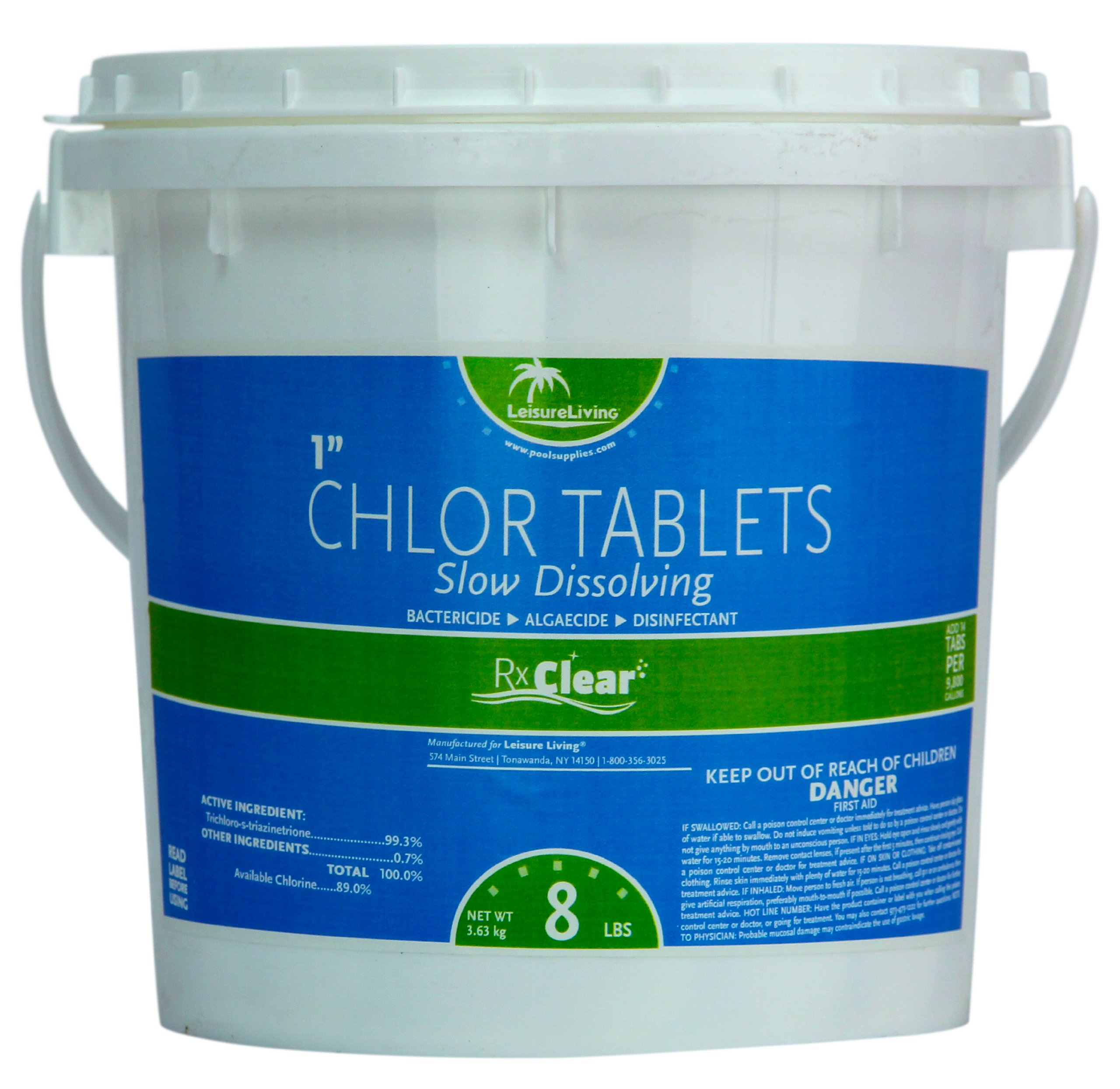 Rx Clear 1-Inch Stabilized Chlorine Tablets | One 8-Pound Bucket | Use As Bactericide, Algaecide, and Disinfectant in Swimming Pools and Spas | Slow Dissolving and UV Protected by Rx Clear