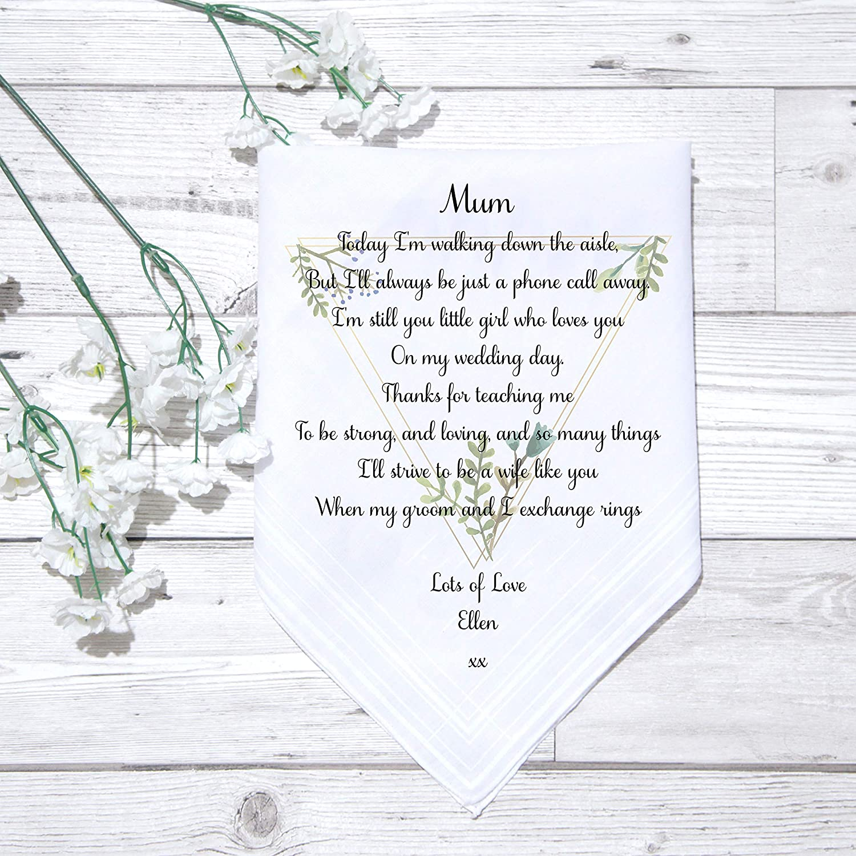 PERSONALISED WEDDING KEEPSAKE HANDKERCHIEF MOTHER OF THE BRIDE GROOM TO MUM