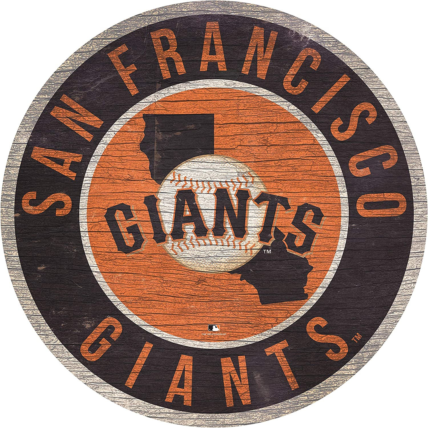 """MLB San Francisco Giants 12"""" Circle with State and Team Logo Wood Sign"""