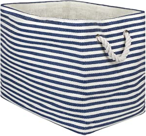 "DII, Woven Paper Storage Bin, Collapsible, 17x12x12"", Pinstripe Nautical Blue"