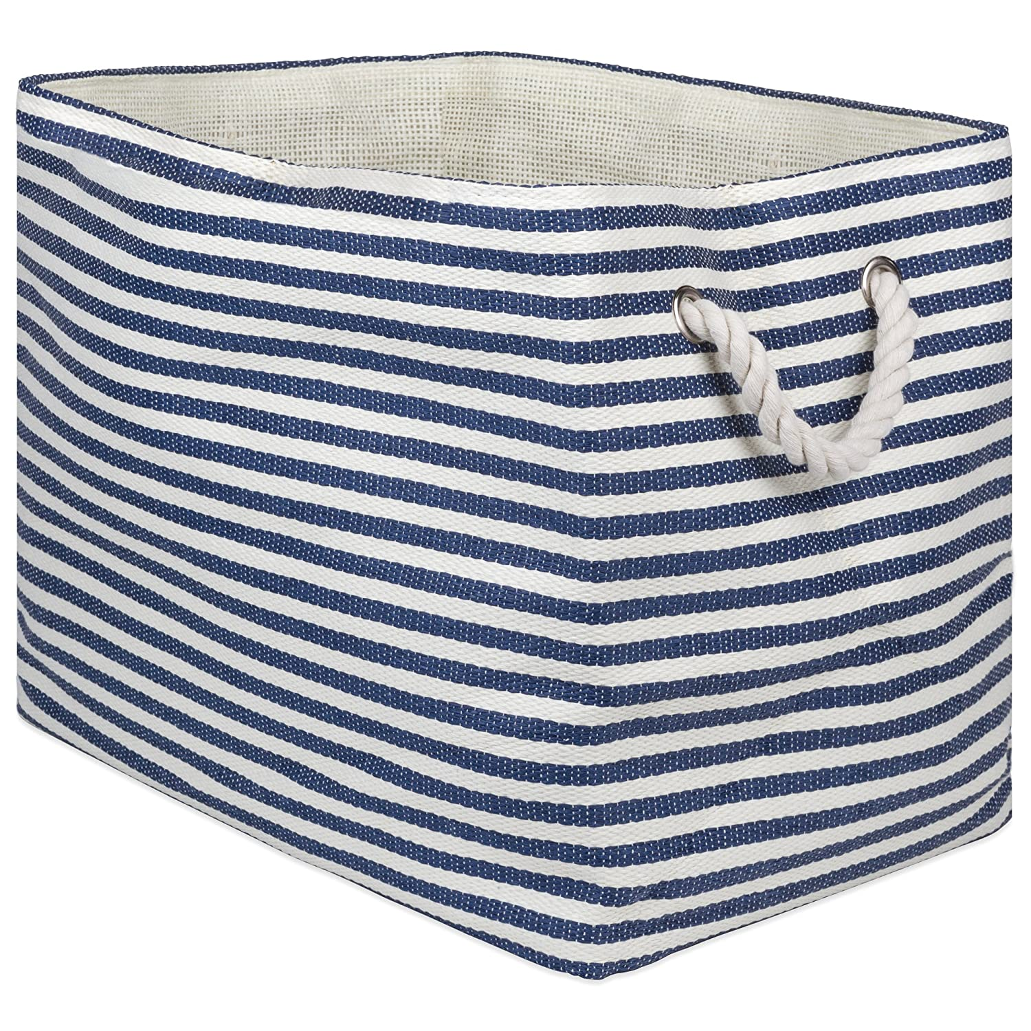 "DII Oversize Woven Paper Storage Basket or Bin (Medium - 15x10x12""), Aqua Pin Stripe CAMZ10087"