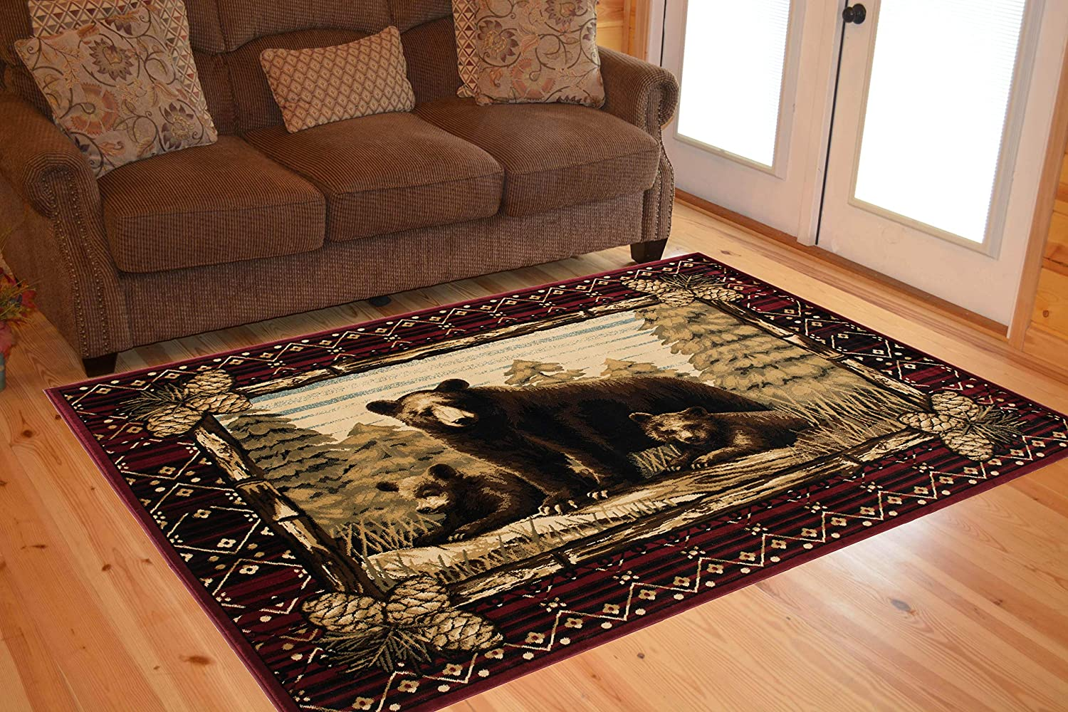 Rug Empire Rustic Lodge Bear Cubs Area Rug, Red