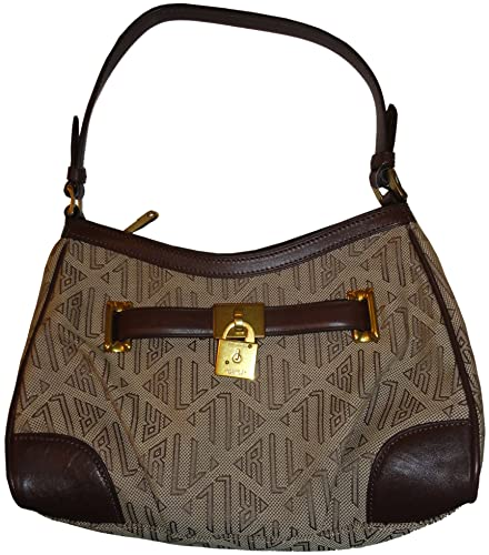 c3cf9a622f1 Image Unavailable. Image not available for. Color  Women s Ralph Lauren  Purse Handbag Small Signature Shoulder Bag Khaki Brown