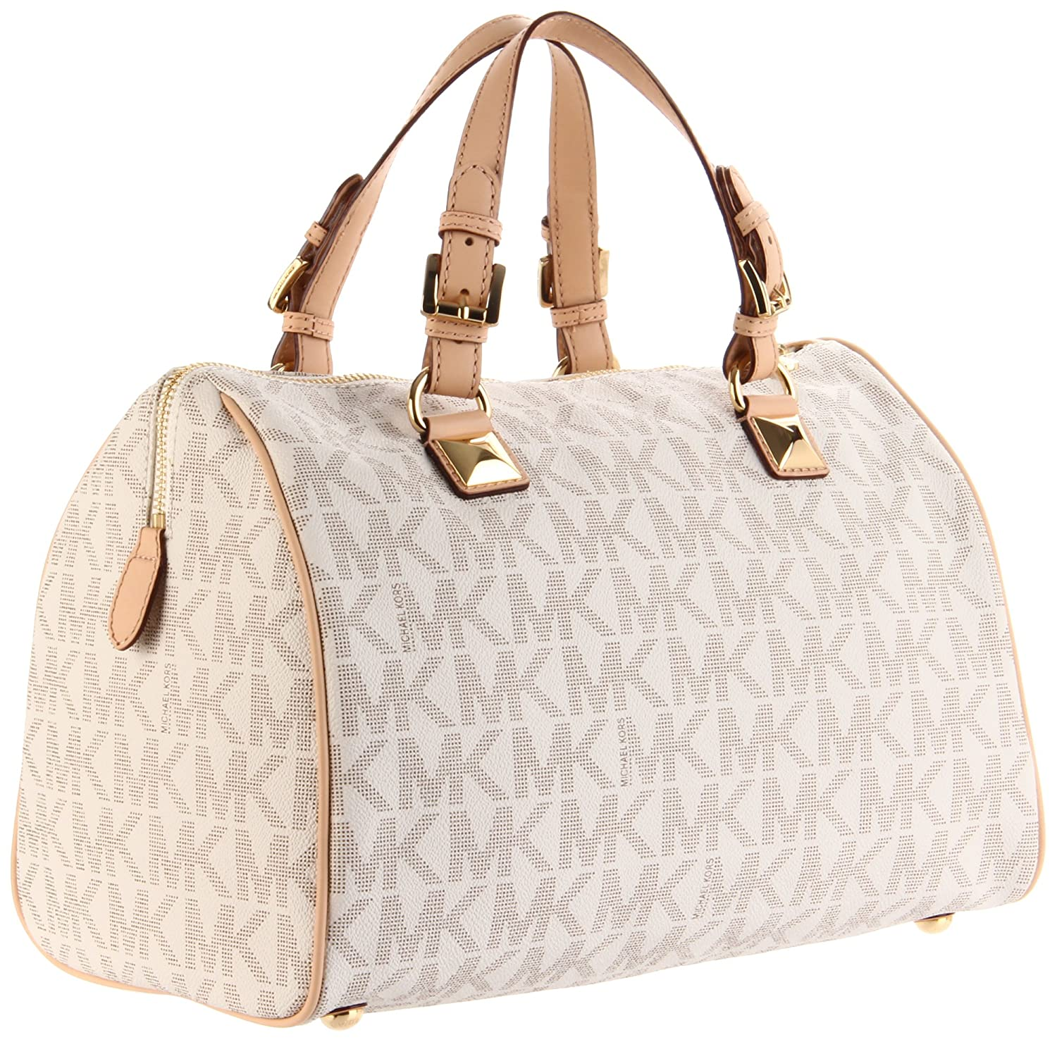c6540568e455b1 Amazon.com: MICHAEL Michael Kors Logo Grayson Large Satchel,Vanilla,one  size: Michael Kors: Clothing