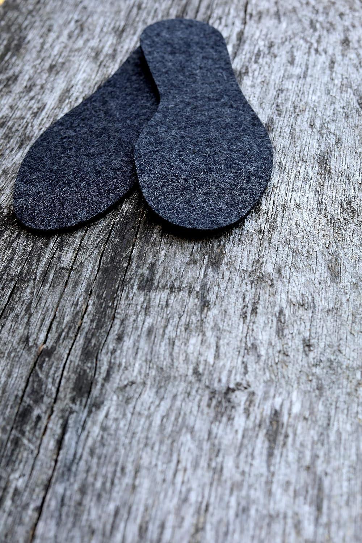 100/% naturali e sostenibili NAPROMA color antracite 1 paio di calde solette in feltro di lana merino