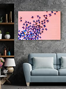 Christmas Sweater for women Butterfly Swarm Canvas Blue Kaleidoscope Artwork Entryway Living Room Wall Décor Home Workplace Aesthetic Prints 8