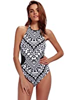 Womens Bathing Suit Halter High Neck One Piece Swimsuit Backless Swimwear Fashion Print