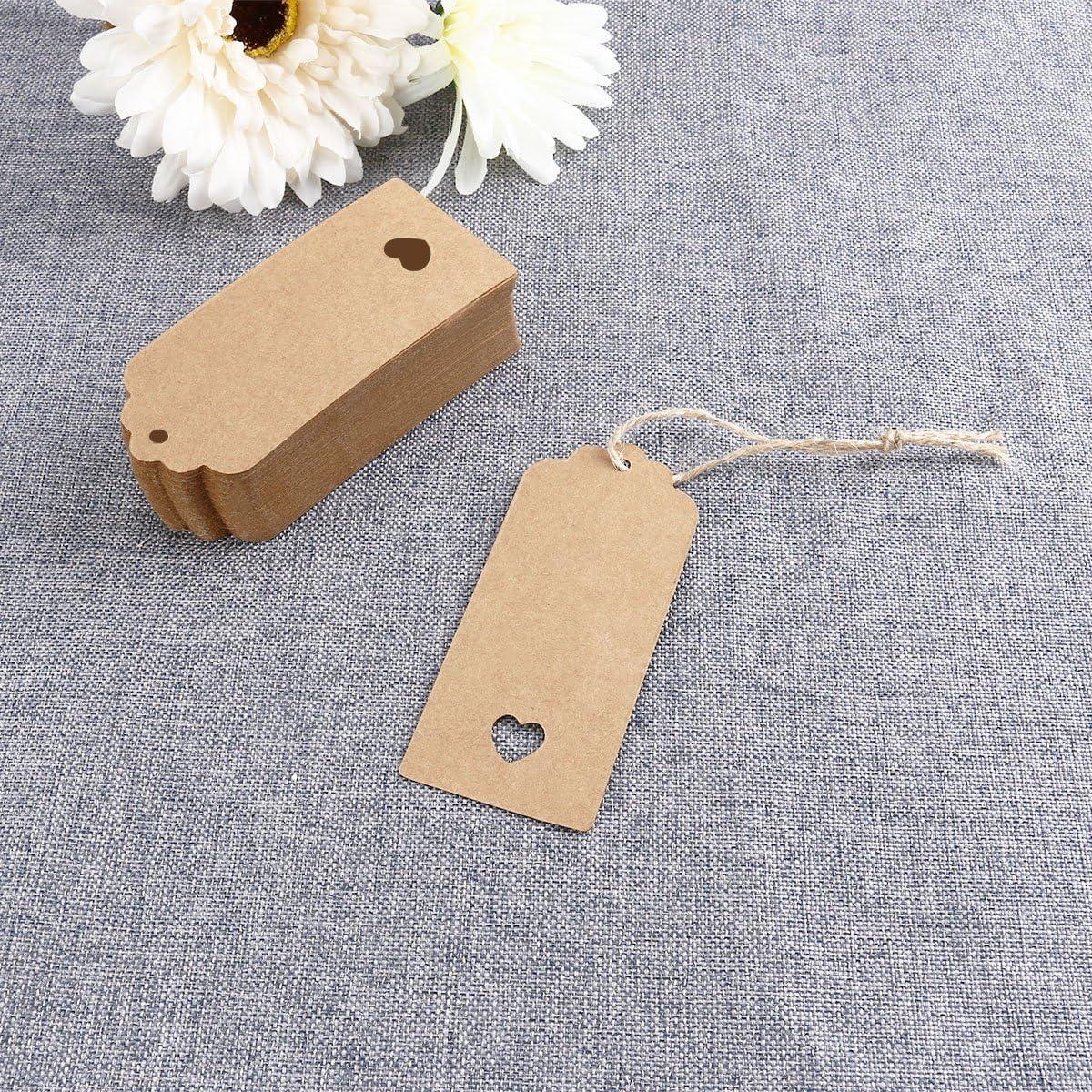 Geschenkanh/änger aus Kraftpapier mit ausgestanztem Herzen von Winomo mit 10 m Schnur braun 9 cm x 4 cm 100 St/ück