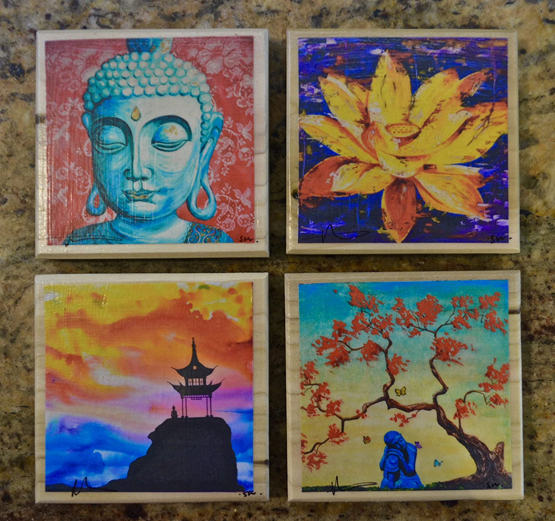 amazon com fine art coasters, set of 4, zen, drink coaster, wood