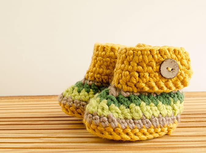 db4e67b86 Amazon.com  Crochet Baby Girl Slippers Mustard Yellow Infant Boots ...