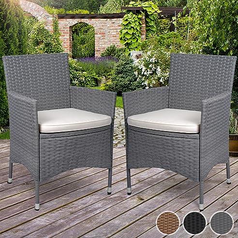 Amazon.de: Miadomodo Polyrattan Gartenmöbel Rattanmöbel Stühle in ...