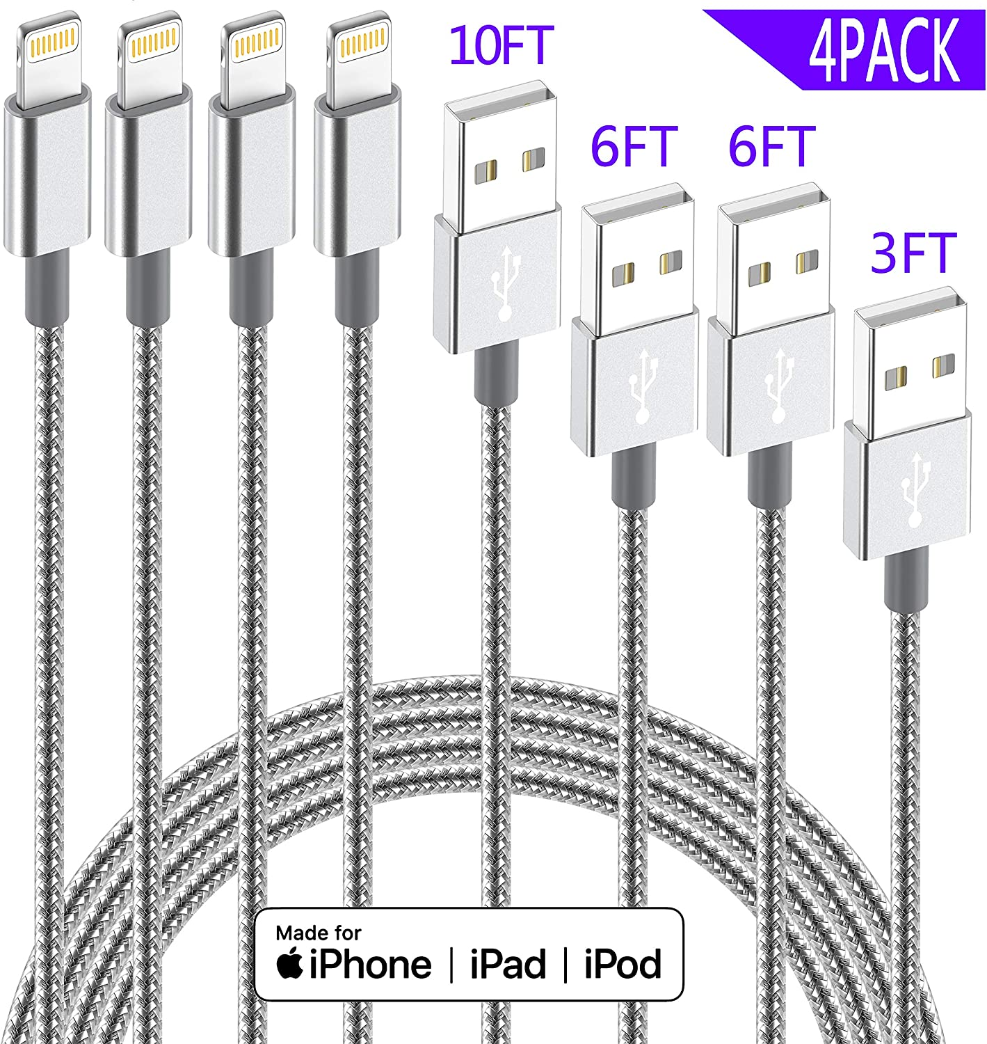 iPhone Lightning Cable Apple MFi Certified IDiSON 4Pack(10ft 6ft 6ft 3ft) Braided Nylon Fast Charger Cable Compatible iPhone 11 Pro Max XS XR 8 Plus 7 ...