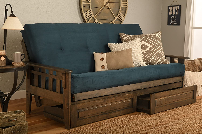 Kodiak Furniture Tucson Full Futon Set in Rustic Walnut Finish with Storage Drawers, Suede Navy