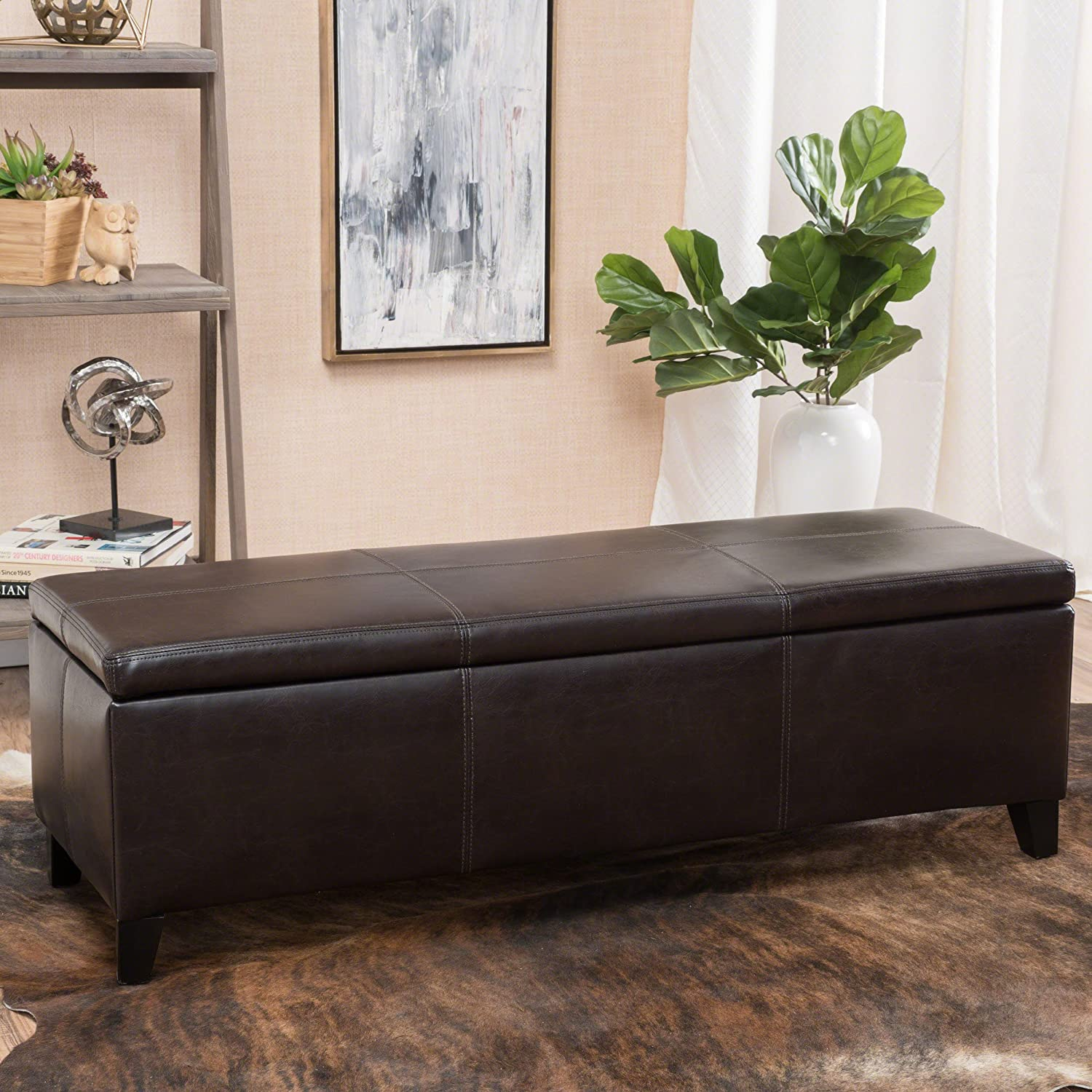 Miraculous Christopher Knight Home Living Deal Furniture Skyler Faux Leather Storage Ottoman Bench In Brown Machost Co Dining Chair Design Ideas Machostcouk