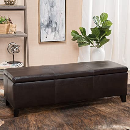 Great Deal Furniture | Skyler Faux Leather Storage Ottoman Bench | In Brown