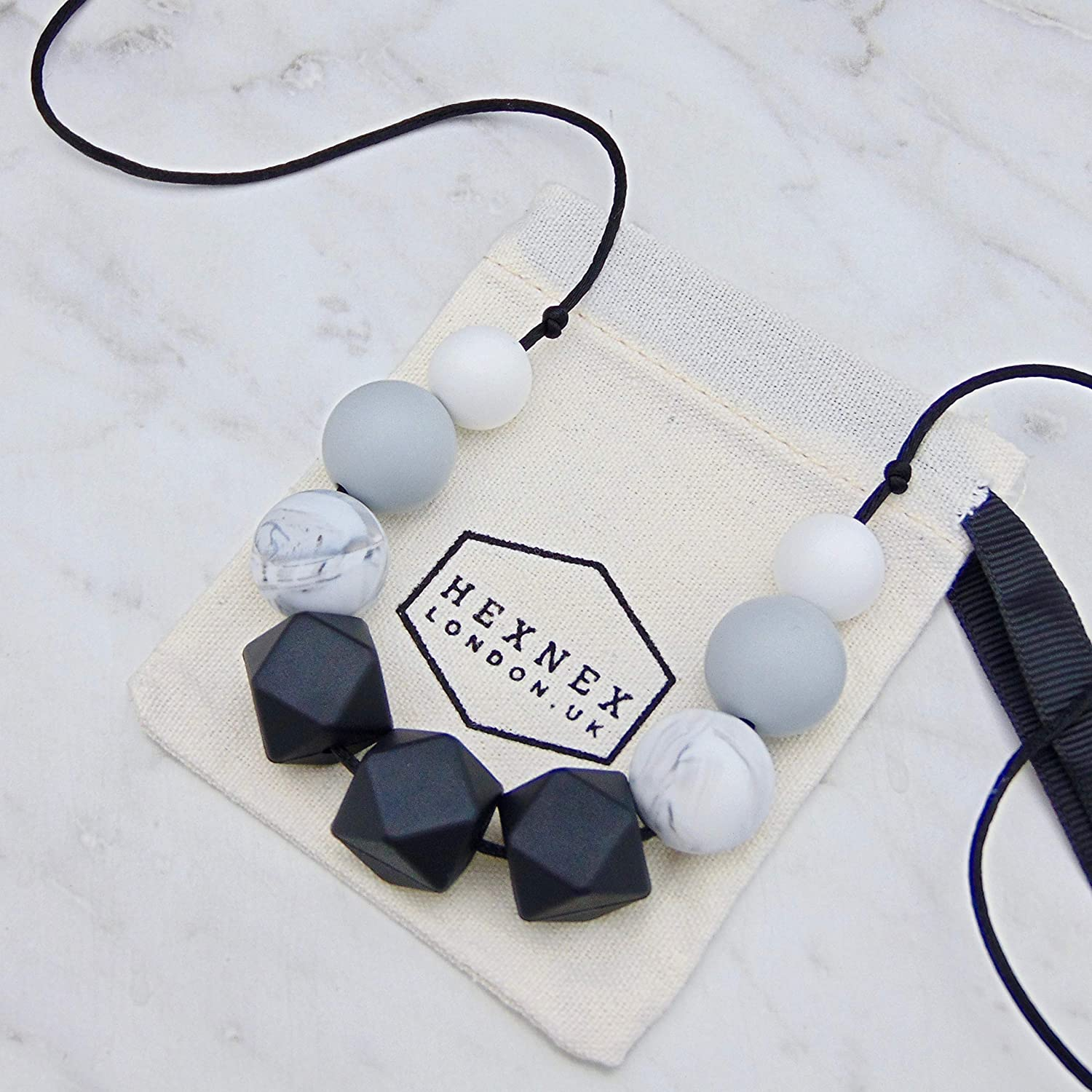 Sensory Necklace marble black Silicone jewellery Australia gift was teething
