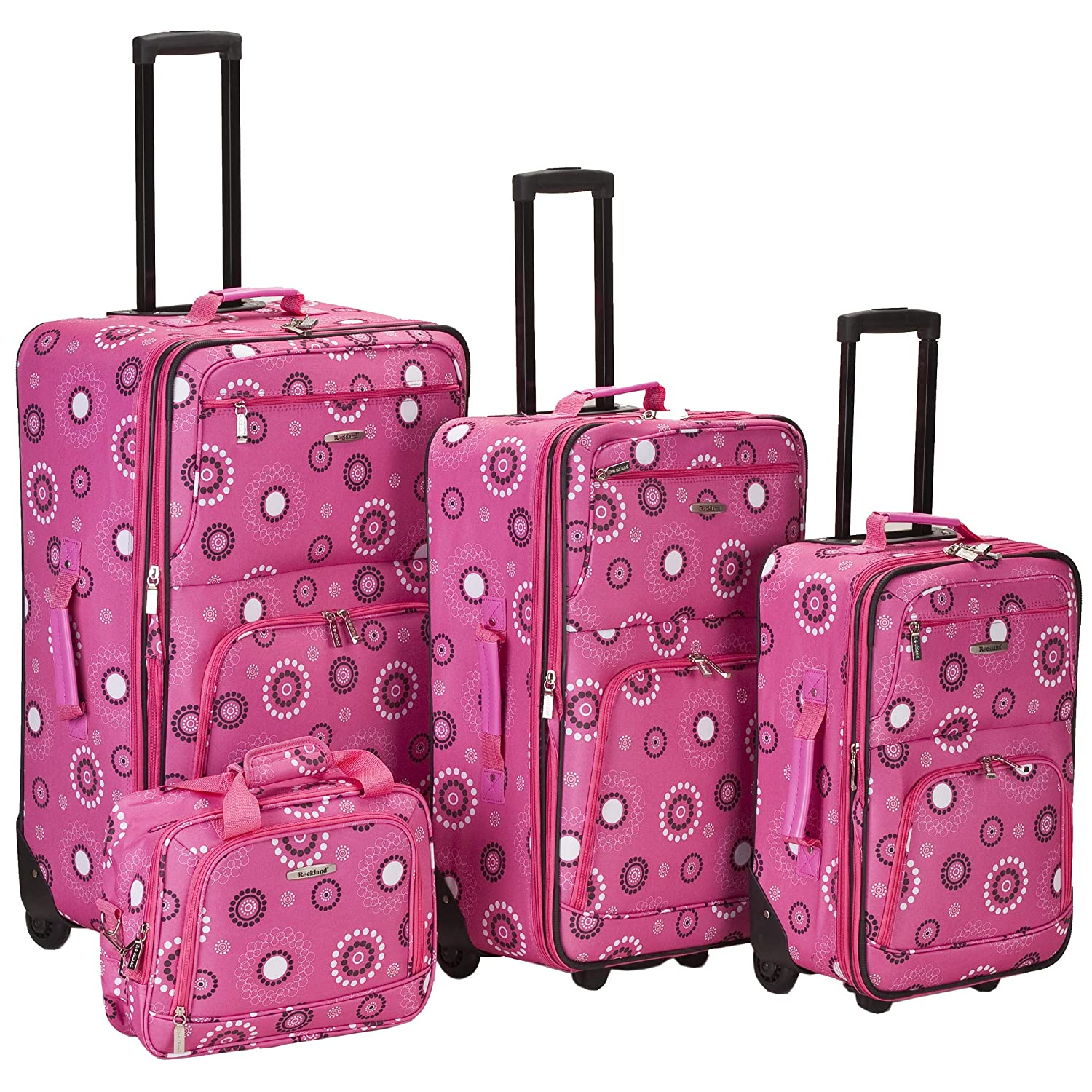 One Size Fox Luggage F108-PINKBANDANA Pink Bandana Rockland Luggage Brown Leaf 4 Piece Luggage Set