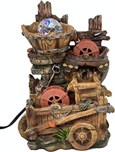 ImagiWonder Tabletop Fountain Water Mill in Broken Jar on Cart
