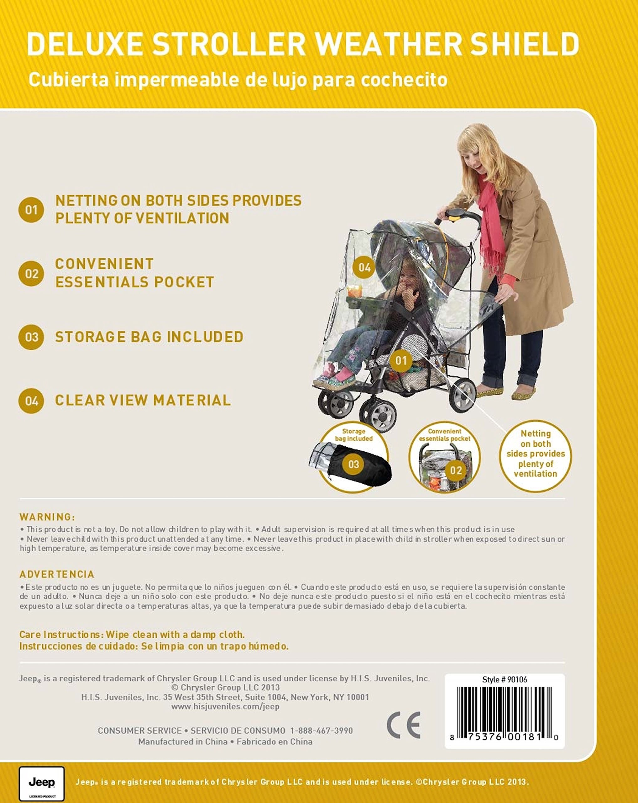 J is for Jeep Deluxe Stroller Weather Shield, Baby Rain Cover, Universal Size, Waterproof, Water Resistant, Windproof, See Thru, Ventilation, Protection, Shade, Umbrella, Pram, Vinyl, Clear, Plastic by Jeep (Image #5)