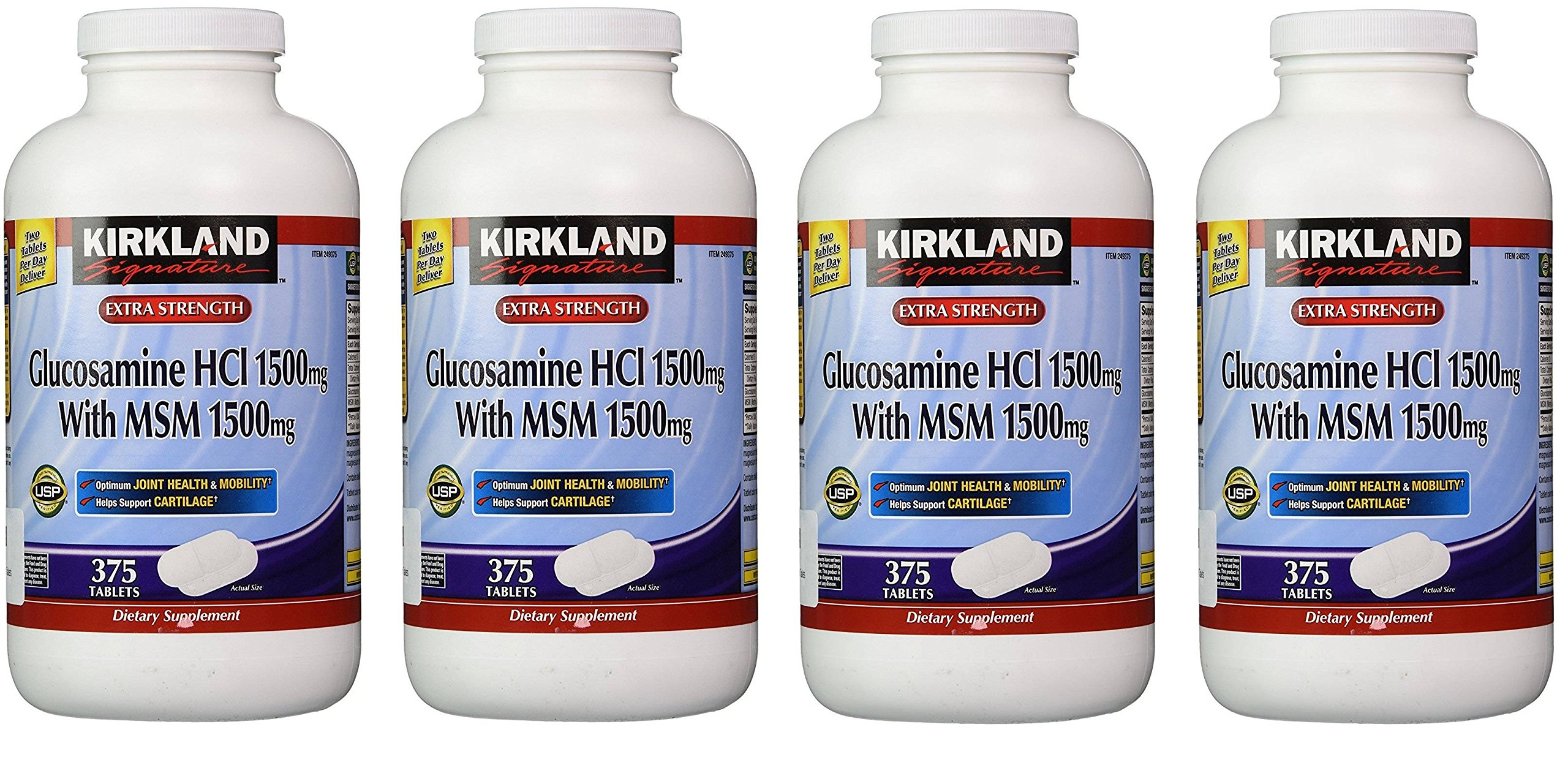 Kirkland Signature Extra Strength Glucosamine HCI 1500mg, With MSM 1500 mg, 375 Count (4 Pack)