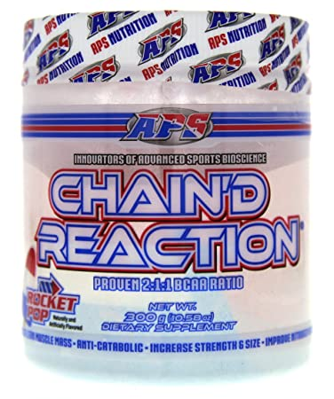 Chain d Reaction – The Ultimate BCAA Amino Acid Recovery Aid for Muscle Growth, Rocket Pop, 300 Gram
