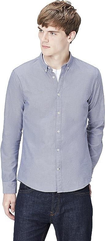 T-Shirts Camisa de Rayas Entallada con Cuello Óxford para Hombre: Amazon.es: Ropa y accesorios